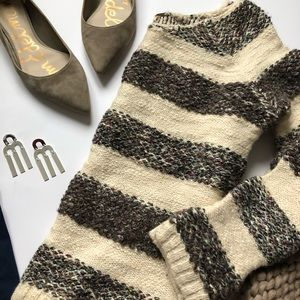 Free People Cream Striped Knit Sweater